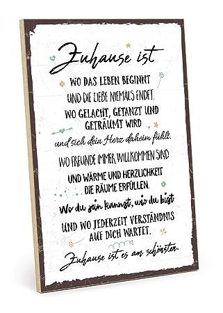 Typestoff Holzschild Mit Spruch Zuhause Ist Es Am Schönsten Im Vintage Look Mit Zitat Als Geschenk Und Dekoration Zum Thema Familie Und Heimat