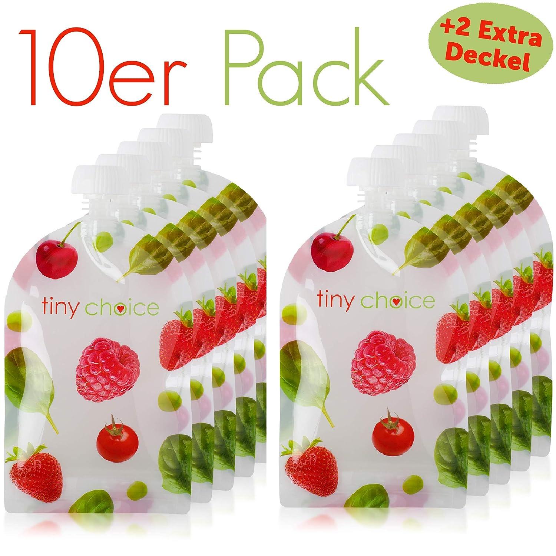 Quetschies Wiederverwendbar 10er Pack mit 150 ml Quetschbeutel Wiederverwendbar und E-Book mit Rezepten tiny choice