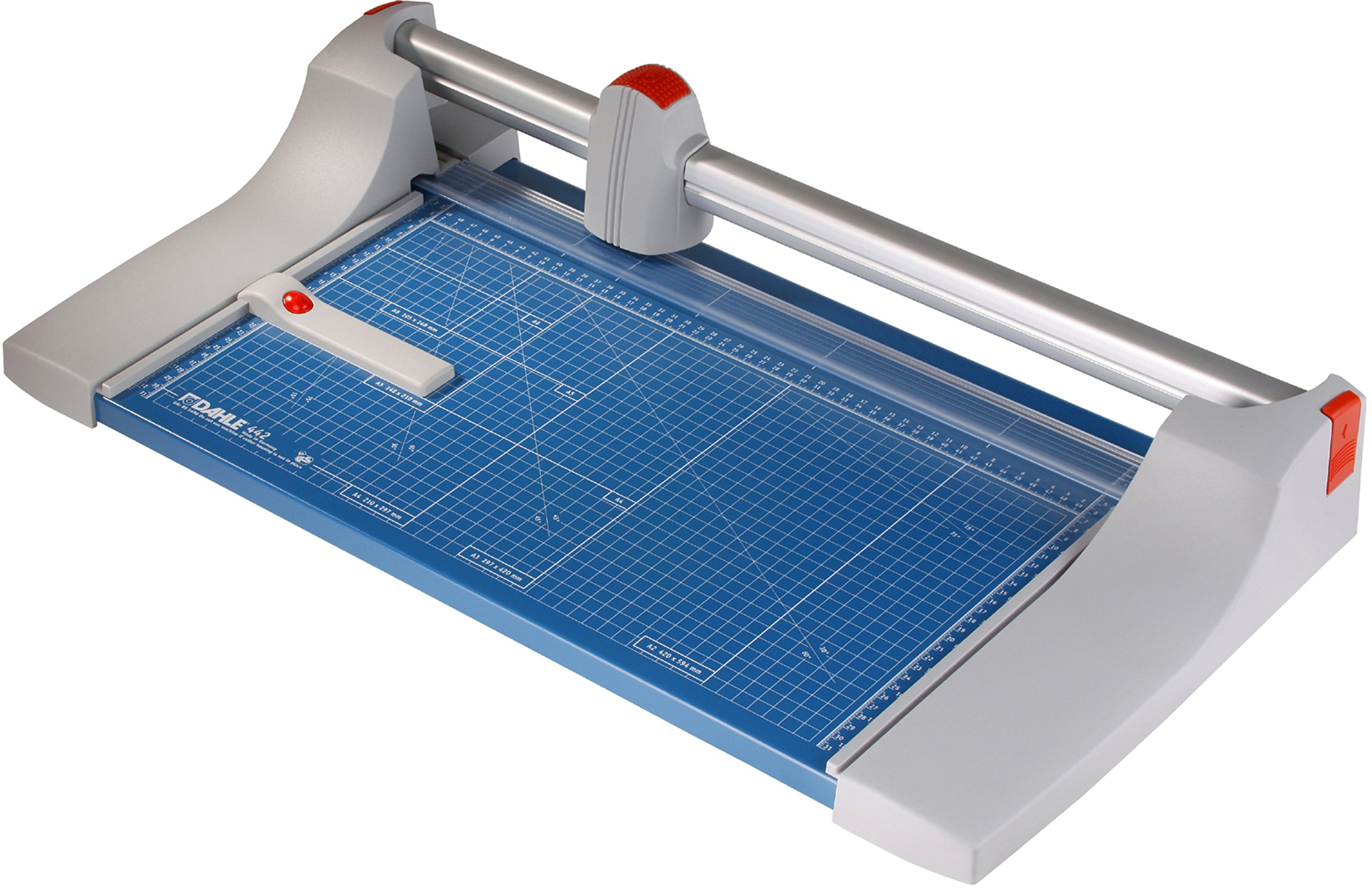 Dahle 442 Premium Rolling Trimmer, 20'' Cut Length, 30 Sheet Capacity, Self-Sharpening, Automatic Clamp, German Engineered Paper Cutter