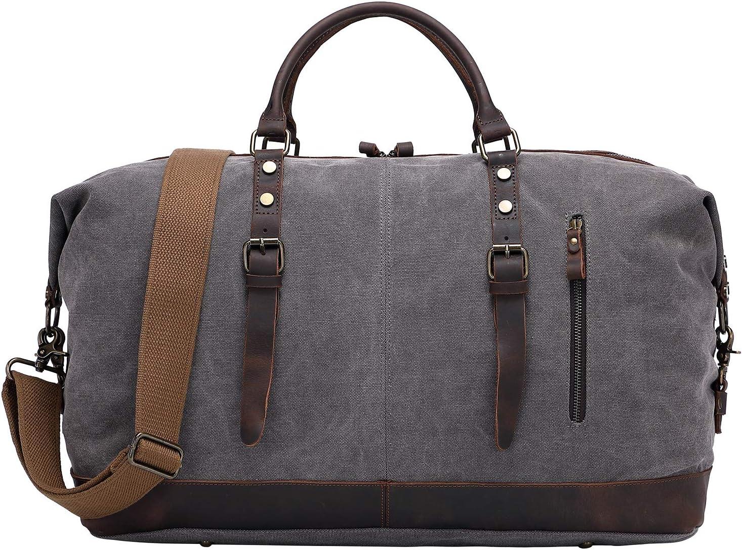 ALTOSY Canvas Duffel Bag Genuine Leather Travel Tote Duffle Shoulder Handbag Y2077, Grey