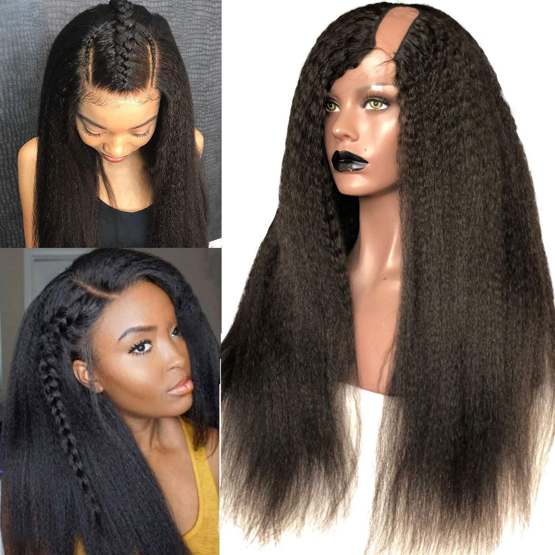 Amazon Com Rossy Nancy Brazilian Virgin Human Hair Lace U Part Wig Kinky Straight Natural Black Color Left U Part Half Wigs For African Americans Black Women Italian Yaki 150 High Density 14inch