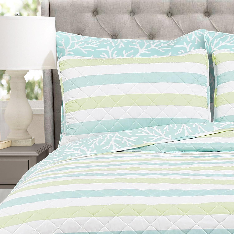 Lush Decor Blue /& Green King Sealife Stripe 7 Piece Quilt Set