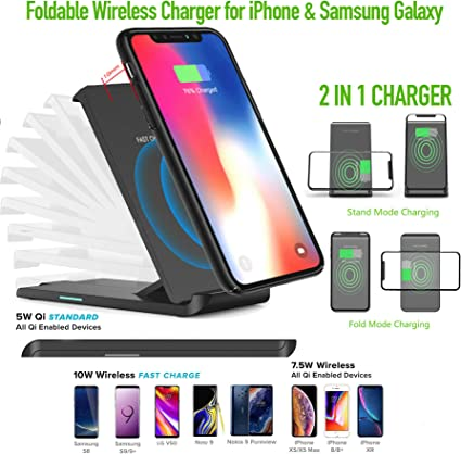 No AC Adapter,1 Pack Wireless Charger Qi-Certified Black Fast Glass Thin 10W Wireless Charging Station ,Universal Wireless Charging Station Pad Compatible for Smart Phones and Other QI Devices