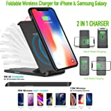 Qi Wireless Charger Pad Compatible Phone XS MAX//XS//XR Note 8 S8//S8 Plus//S7//S7 Edge//S6 Universal Wireless Charger Stand 2019 Upgraded Fast Wireless Charger G01