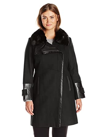 Via Spiga Women's Plus-Size Wool-Blend Coat with Faux-Fur Collar ...