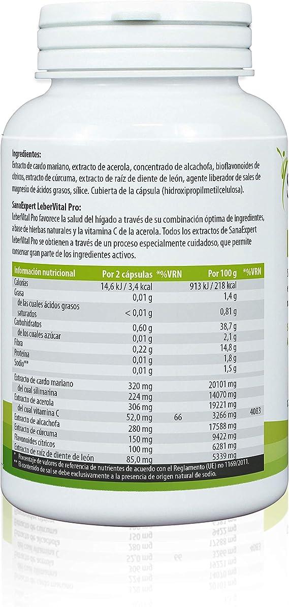 SanaExpert Lebervital Pro, Suplemento Nutricional para el Hígado y los Riñones, Capsulas Depurativas con Extracto de Cardo Mariano, Alcachofa, ...