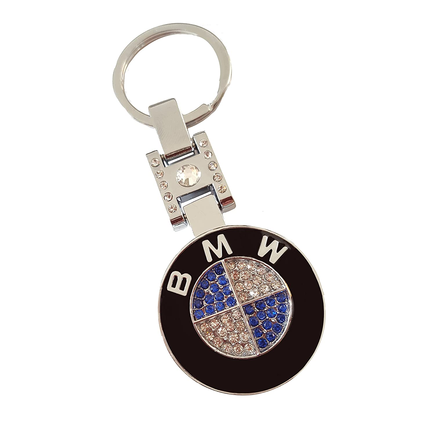 A Swarovski Crystals Key Holder with a BMW Logo