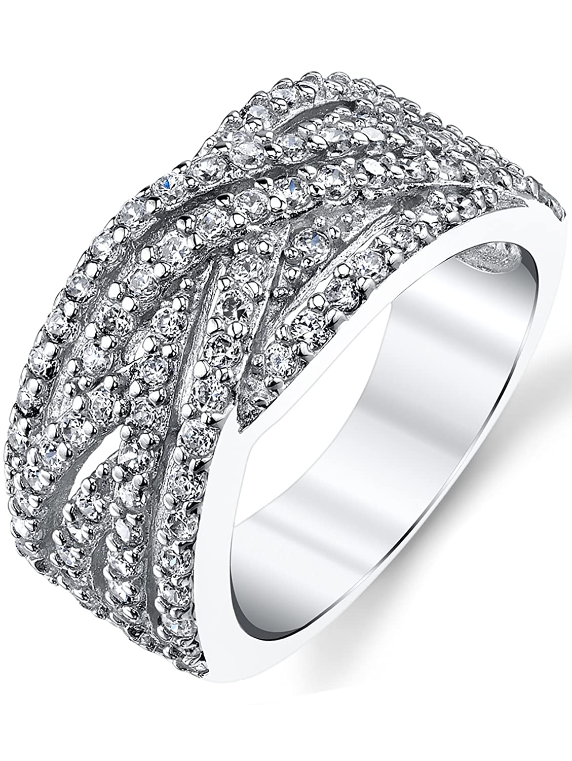 Metal Masters Co. ® 925 Sterling Silver Cubic Zirconia CZ Right Hand Ring Band Sizes 5-9 SILRXXX193