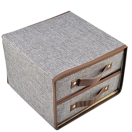 Haoun Fabric Storage Drawers Box Foldable Closet Organizer Bra Underwear Divider 2-Layer Organizers Container  sc 1 st  Amazon.com & Amazon.com: Haoun Fabric Storage Drawers Box Foldable Closet ...
