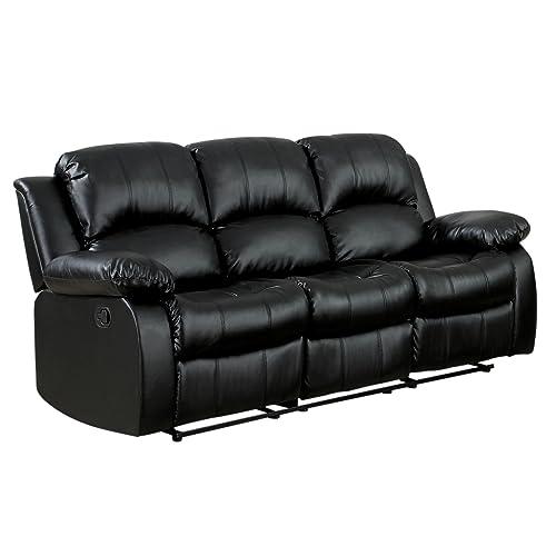 Beau Homelegance Double Reclining Sofa, Black Bonded Leather