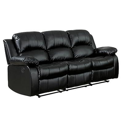 Amazing Homelegance Double Reclining Sofa, Black Bonded Leather
