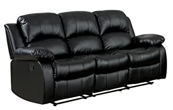 Bon Homelegance Double Reclining Sofa, Black Bonded Leather