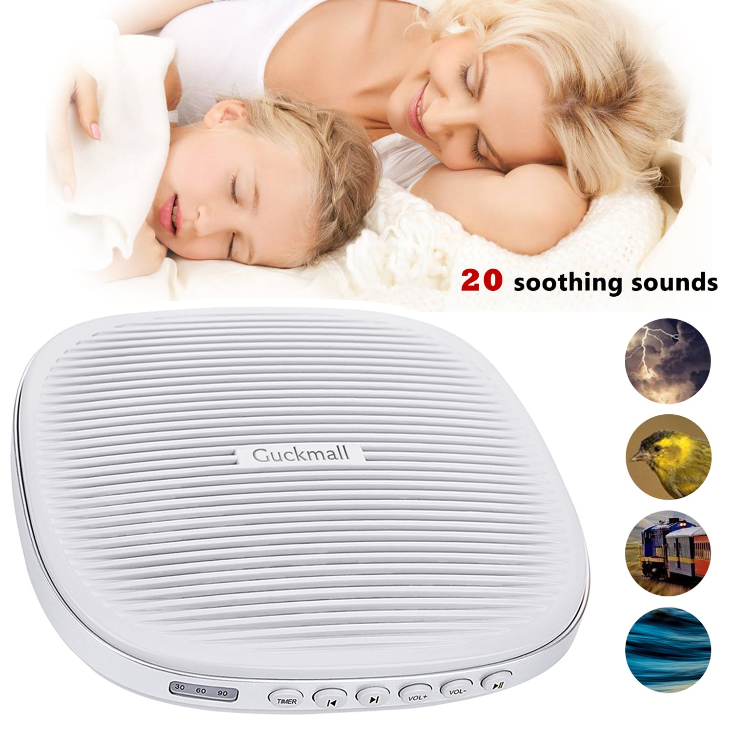 Guckmall Portable White Noise Machine, 20 Soothing Sounds with Memory Function Sleep Therapy Noise Machine Sound Machines, Sleeping Timer for Baby, Kids, Adults or Travel