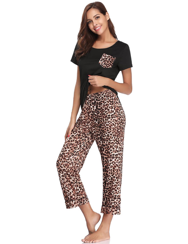 Mujer Aibrou Pijamas Verano Mujer Algodon Manga Corto Pantalones Recortados Suave Comodo Y Fresco Ropa Dayleasing Com