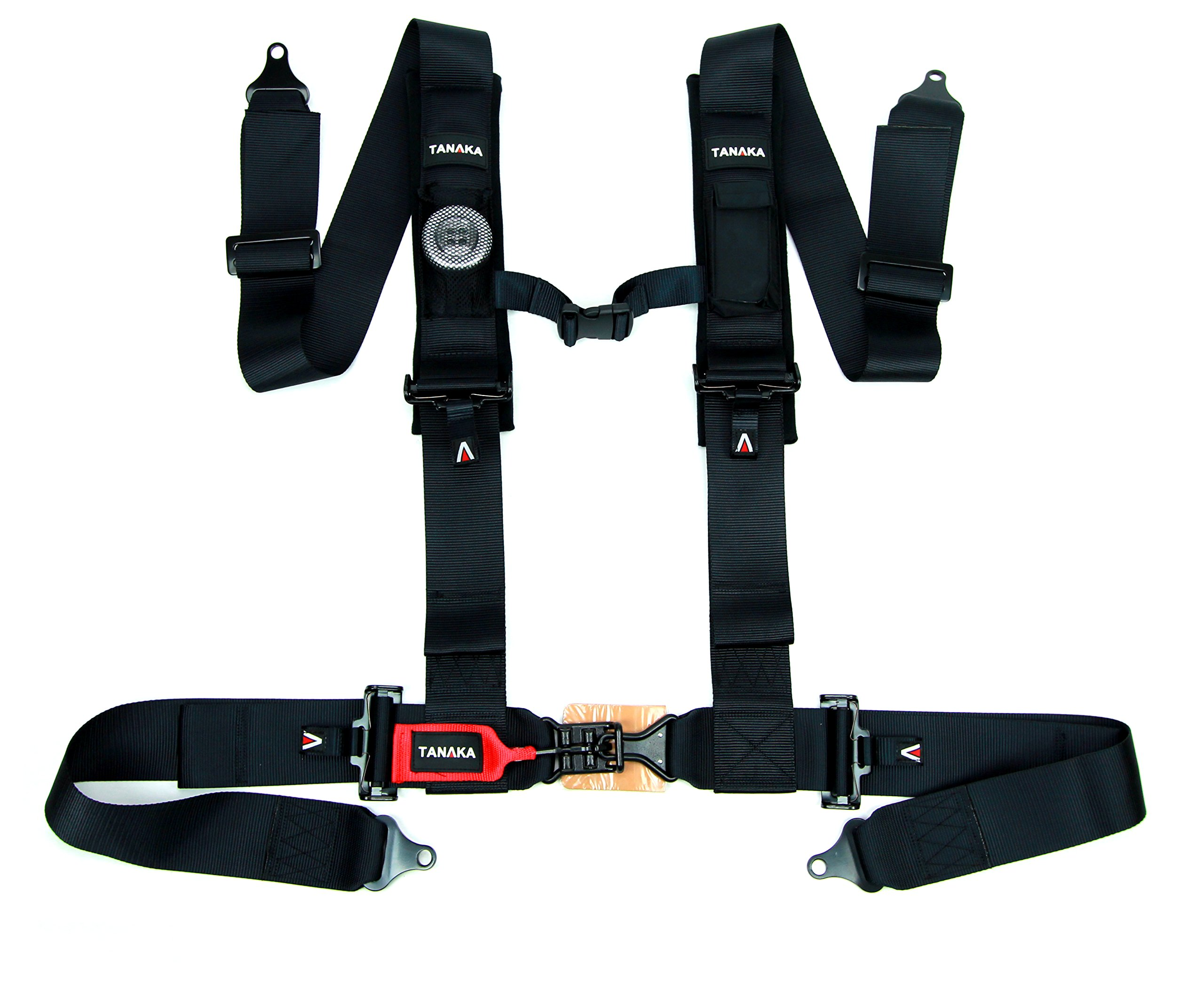 Tanaka Black Series Latch and Link Safety Harness Set with Ultra Comfort Heavy Duty Shoulder Pads (for one seat) (Black) (3'' Onyx)