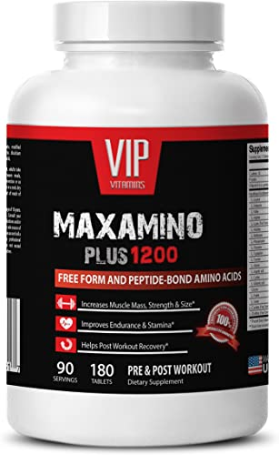 Amino acids'supplements - MAXAMINO PLUS 1200 - Increases muscle'strength and'size - 1 Bottle 180 Tablets