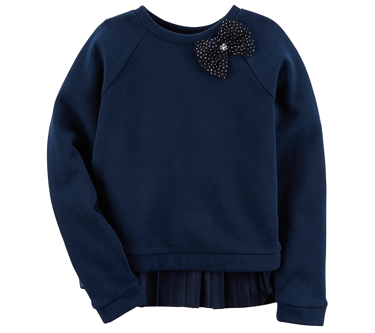 Carters Baby Girls Long Sleeve Pleated Back Hi Low Bow Top