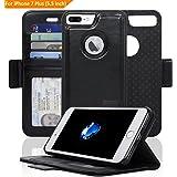 NAVOR - iPhone 7 Plus Detachable Magnetic Housing Wallet Case [RFID Protection] [Apple Logo Hole] [Vajio Series] -Black (IP7PVJBK)