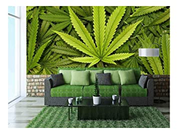 Wall26 Big Marijuana Leaf Close Up With Texture Background Of Cannabis Leaves Removable Wall Mural Self Adhesive Large Wallpaper 100x144