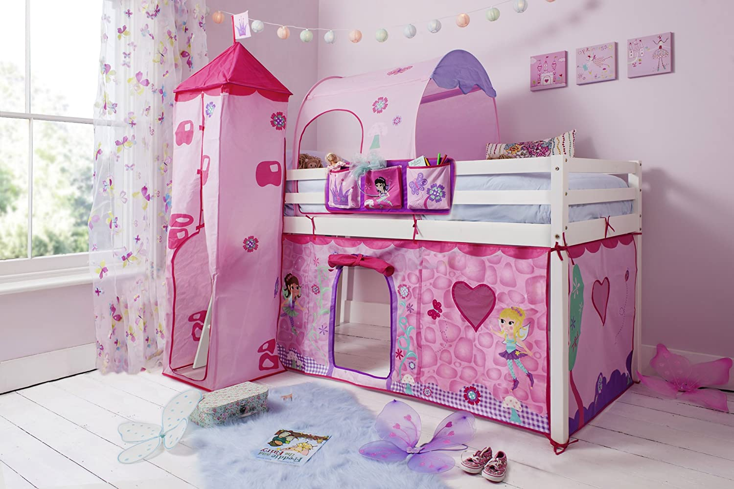 Cabin Bed Midsleeper with TentTower Tunnel u0026 Bed Tidy in Fairies (Solid White) Amazon.co.uk Kitchen u0026 Home & Cabin Bed Midsleeper with TentTower Tunnel u0026 Bed Tidy in Fairies ...