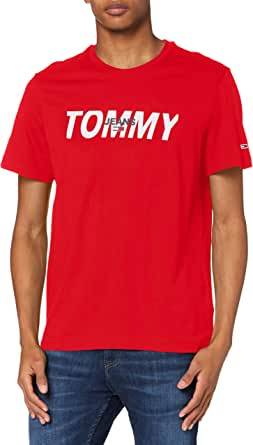 Tommy Jeans TJM Layered Graphic tee Camisa, Carmesí Intenso, S para Hombre