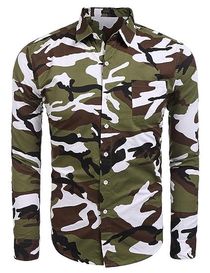 40ef825bb2d80 COOFANDY Mens Camouflage Button Down Shirt Casual Print Long Sleeve Shirt,  Green, Small
