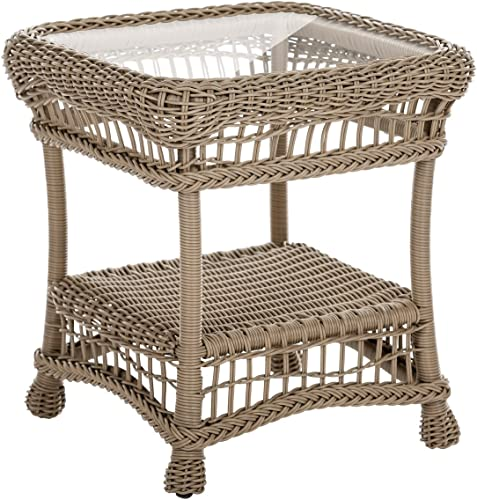 W Unlimited Saturn Collection Garden Cappuccino Wicker Outdoor Furniture Conversation Set Beige Cushion End Table