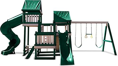 CONGO Monkey Playsystem 4 with Swing Beam – Green and Sand Low Maintenance Play Set