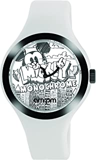 AM:PM Disney Mickey Mouse Monochrome Unisex Watch DP155-U343 White Silicone Strap