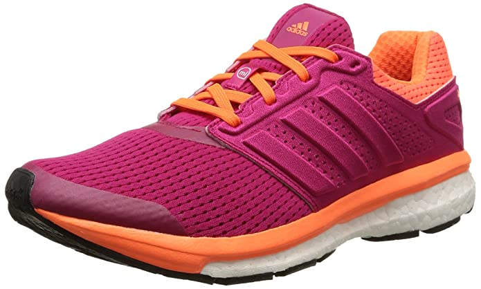adidas Supernova Glide Boost 7, Chaussures de Course Femmes - Rose - Pink (Bold Pink/Bold Pink/Solar Orange), 36