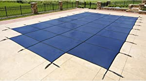 Blue Wave 16-ft x 32-ft Rectangular In Ground Pool Safety Cover w/ 4-ft x 8-ft Center Step - Blue
