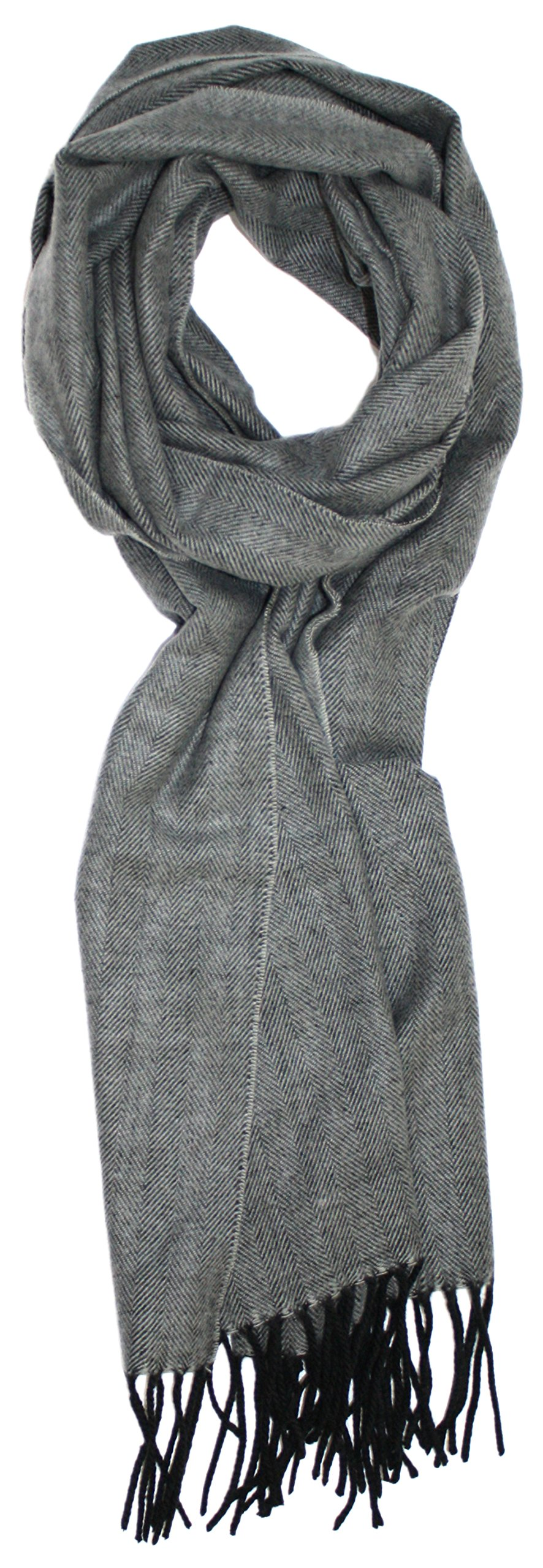 Ted and Jack - Timeless Cashmere Feel Herringbone Pattern Scarf in Charcoal Grey with Black Fringe