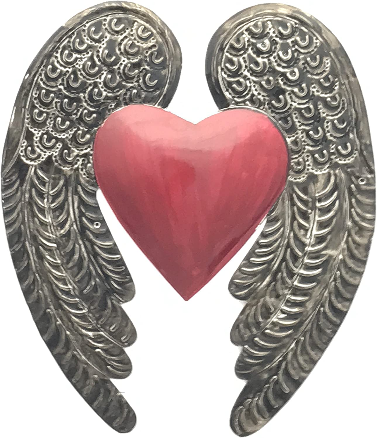 Madison Imports Milagro Heart Wings Milagro Ex Voto Tin Antique Silver Color. Beautiful Embossed