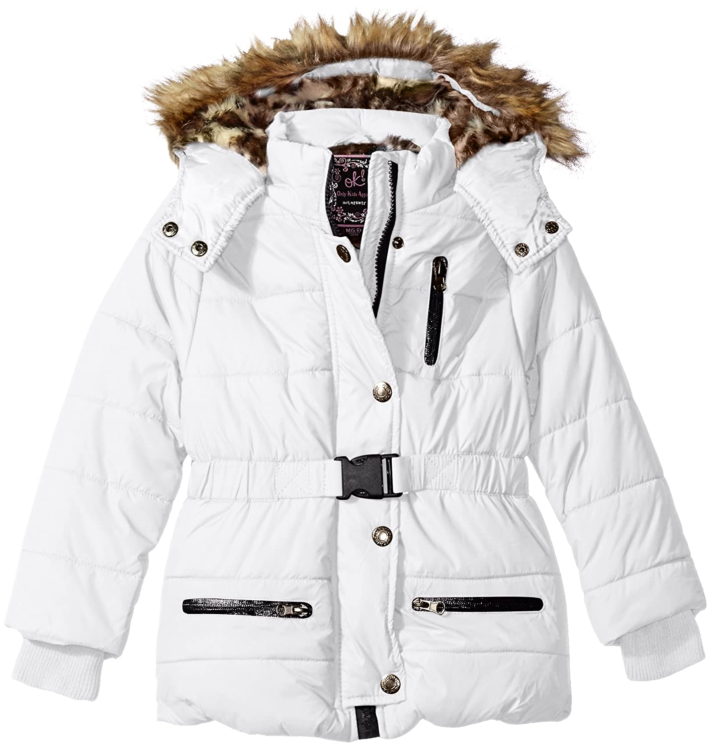 Ok Kids! Girls' Little Parka Jacket Faux Fur Trim on Hood black 4 56309