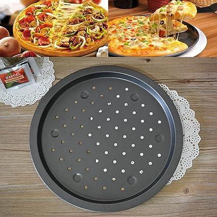 katoot @ 35 cm redondo antiadherente pizza Pan de acero al carbono Pizza piedra horno de