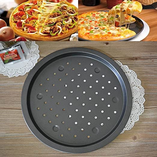 katoot @ 35 cm redondo antiadherente pizza Pan de acero al carbono ...