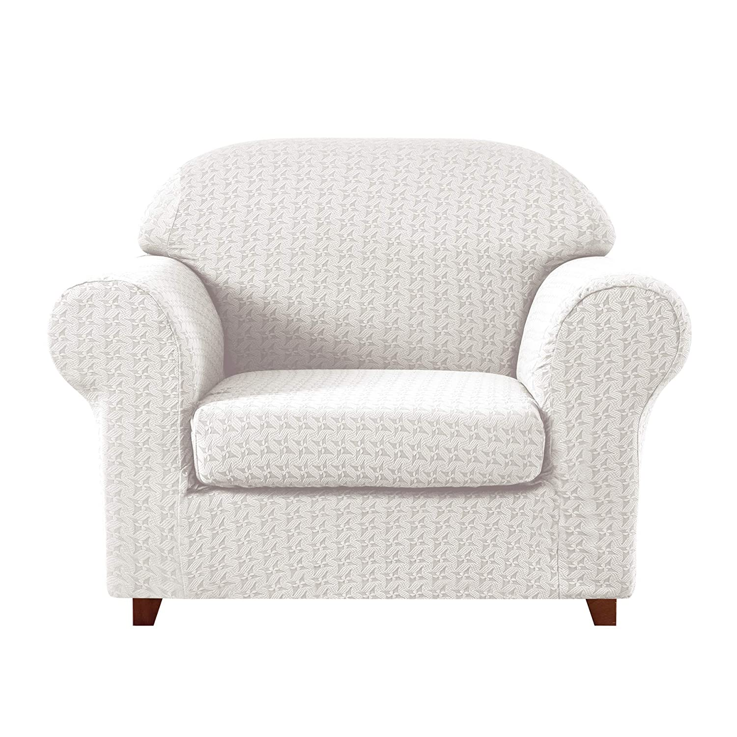 Wondrous Subrtex 2 Piece High Stretch Slipcovers Durable Soft Jacquard Fabric Machine Washable Sofa Covers Chair Off White Embossed Andrewgaddart Wooden Chair Designs For Living Room Andrewgaddartcom