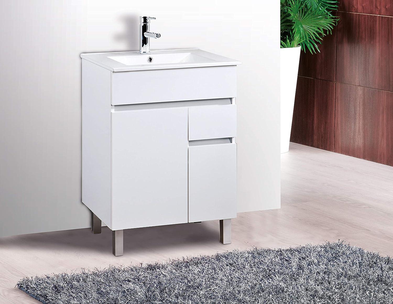 VAROBATH Mueble de baño de 2 Puertas y 1 cajón amortiguado con Lavabo de Ceramica - Mueble MONTADO- Modelo Clif (60 cms, Blanco)