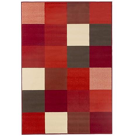 Debonsol - Tapis Salon Design carrés Rouge Blanc Marron ...