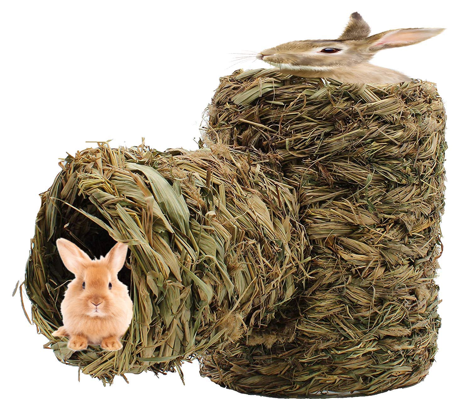 Royal Brands Natural Hideaway Grass Hay Rabbit Tunnel Play Small Animal Toy Hamster Guinea Pig Rat Ferret Hedgehog Prairie Dog Houses