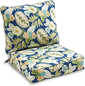 South Pine Porch AM7820-MARLOW Marlow Blue Floral 2-Piece Outdoor Deep Seat Cushion Set