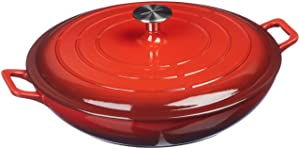 AmazonBasics Enameled Cast Iron Covered Casserole - 3.3-Quart, Red