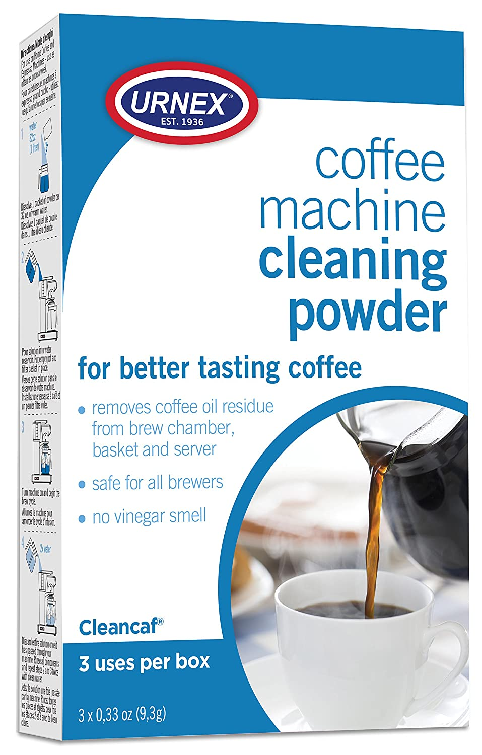 Urnex Coffee Maker and Espresso Machine Cleaner Cleancaf Powder - 3 Packets - Safe On Keurig Delonghi Nespresso Ninja Hamilton Beach Mr Coffee Braun and More - 0021PF