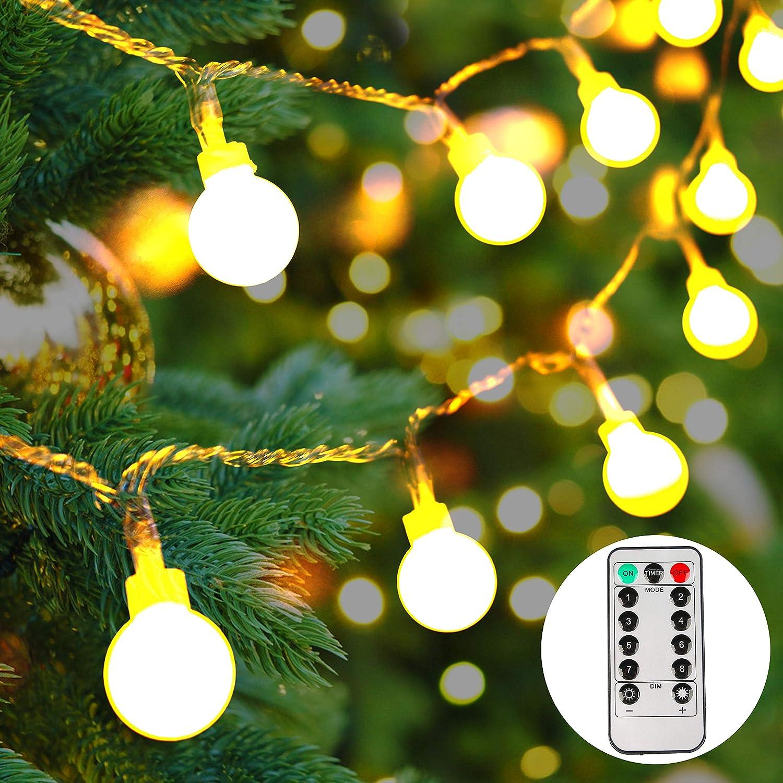 lichterkette batterie außen,50 LEDs Globe Lichterkette,LED ...