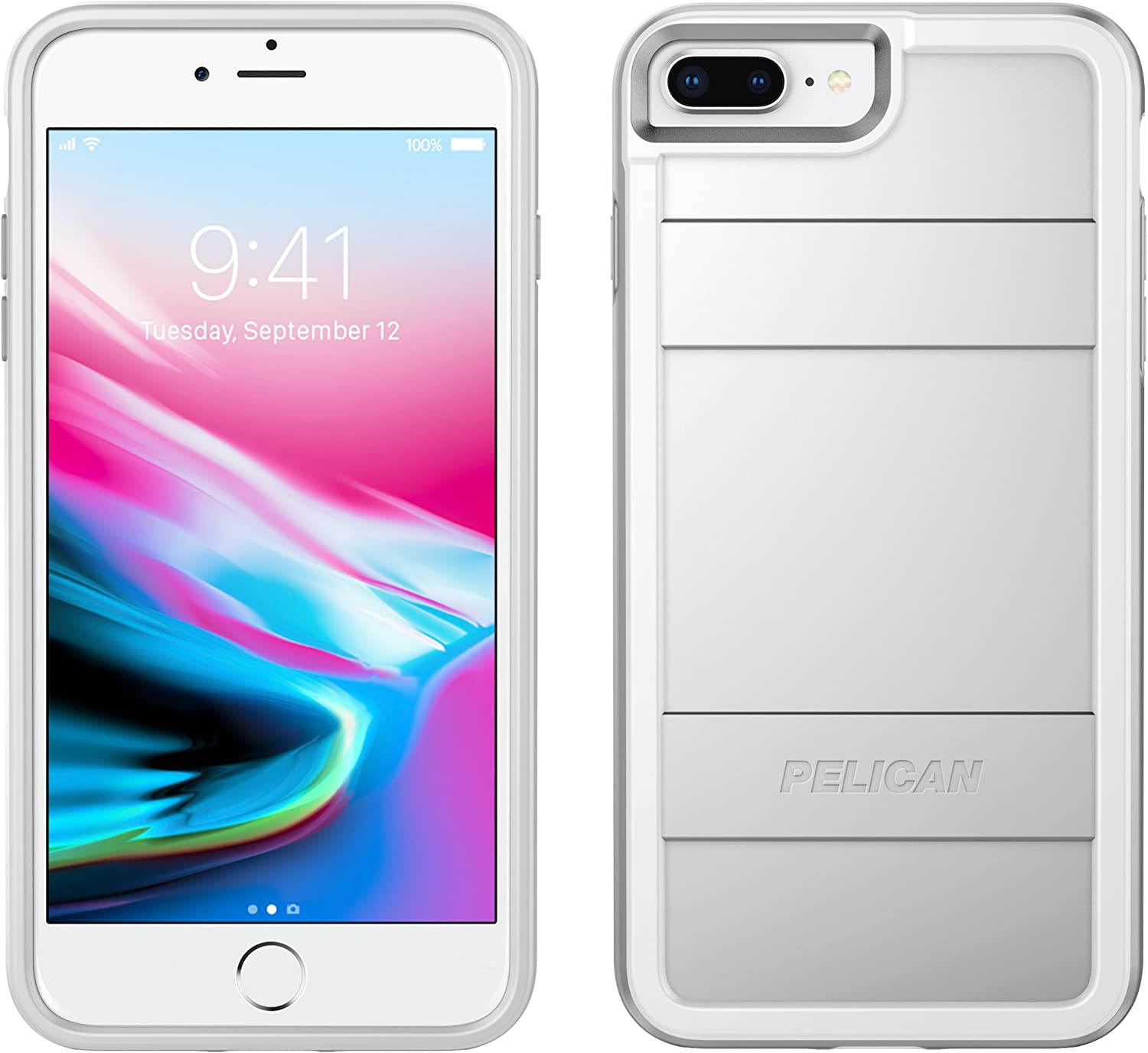 Pelican Protector iPhone Case - fits iPhone 6/6s/7 Plus - Compatible with iPhone 8 Plus (Metallic Silver)