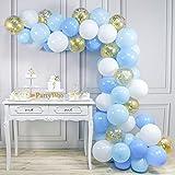 PuTwo Globos Azules Blancos 40 Piezas 12 Pulgadas Globos Bebe Azul ...