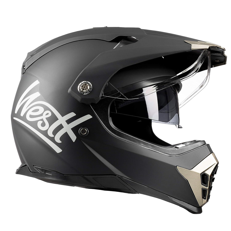 Westt/® Cross /· Casco Moto Estilo Motocross Trial con Doble Visera /· Cascos de Moto Mujer y Hombre Off-Road en Negro Mate /· ECE Homologado