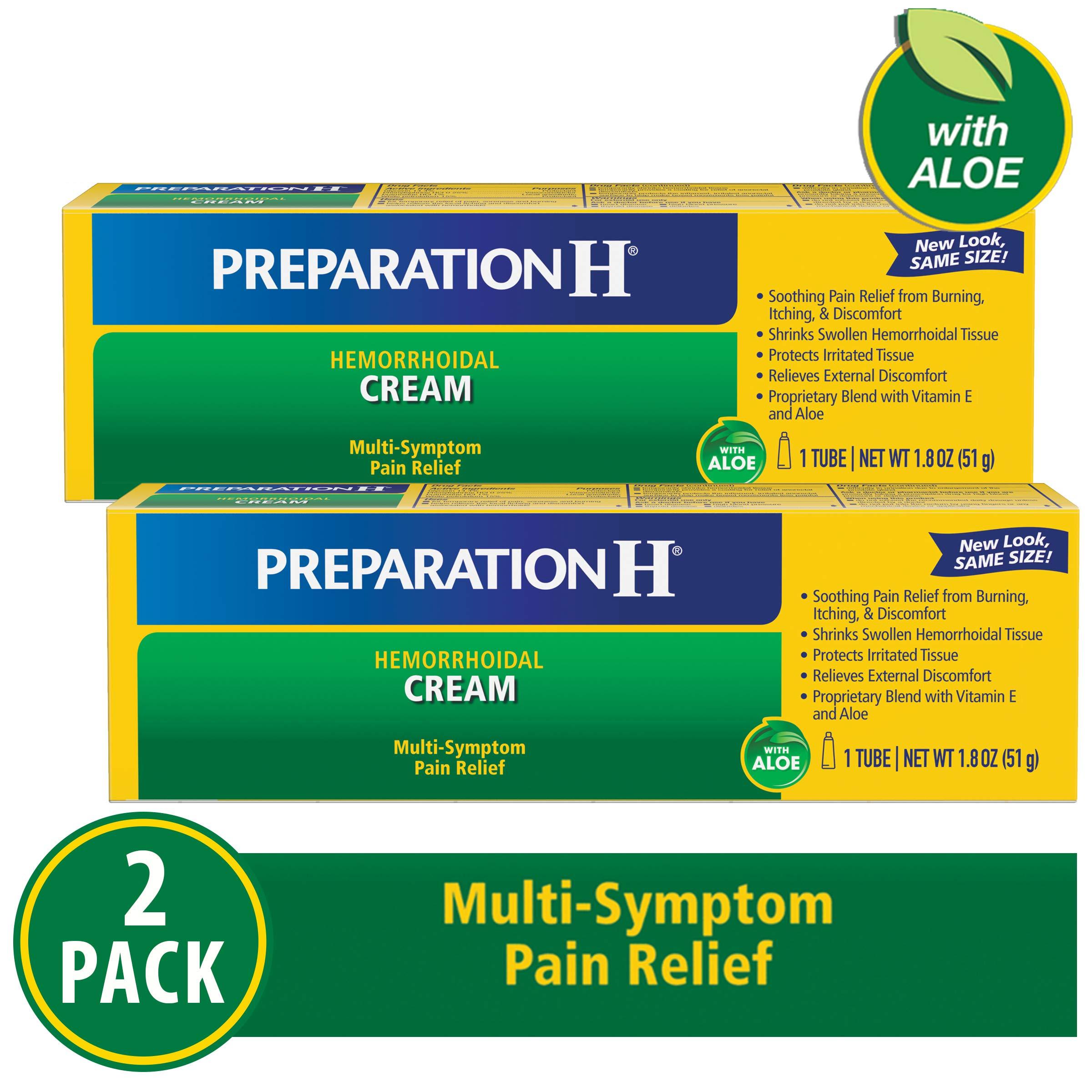 Preparation H Hemorrhoid Symptom Treatment Cream (2 X 1.8 Oz Tube), Maximum Strength Multi-Symptom Pain Relief With Aloe by Preparation H