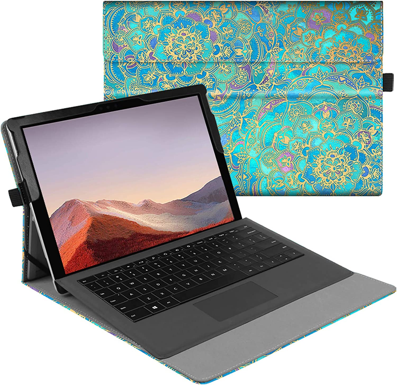 Fintie Case for New Microsoft Surface Pro 7 / Pro 6 / Pro 5 / Pro 4 / Pro 3 12.3 Inch Tablet - Multiple Angle Viewing Portfolio Business Cover, Compatible with Type Cover Keyboard (Shades of Blue)