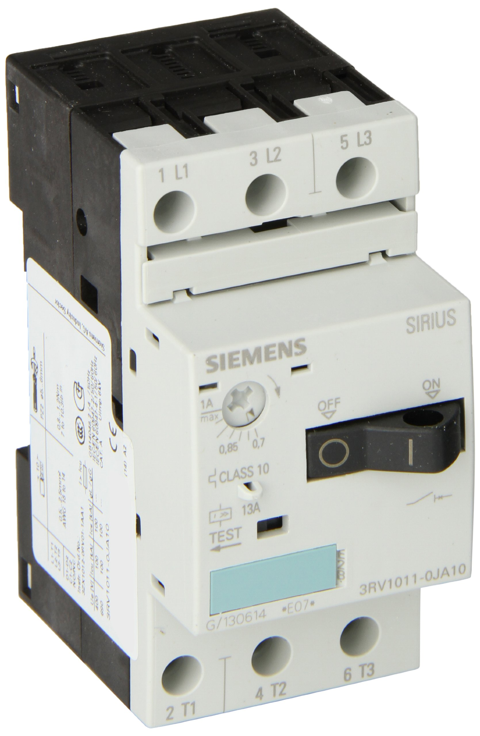 Siemens 3RV1011-0JA10 Motor Starter Protector, Screw Connection, 3RV101 Frame Size, 0.7-1 FLA Adjustment Range, 13A Instantaneous Short Circuit Release, 65kA UL Short Circuit Breaking Capacity at 480V